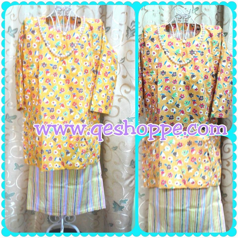 Baju Kurung Teluk Belanga Kanak-kanak English Cotton Yellow Orange Flower with Yellow Orange Stripe Skirt.jpg