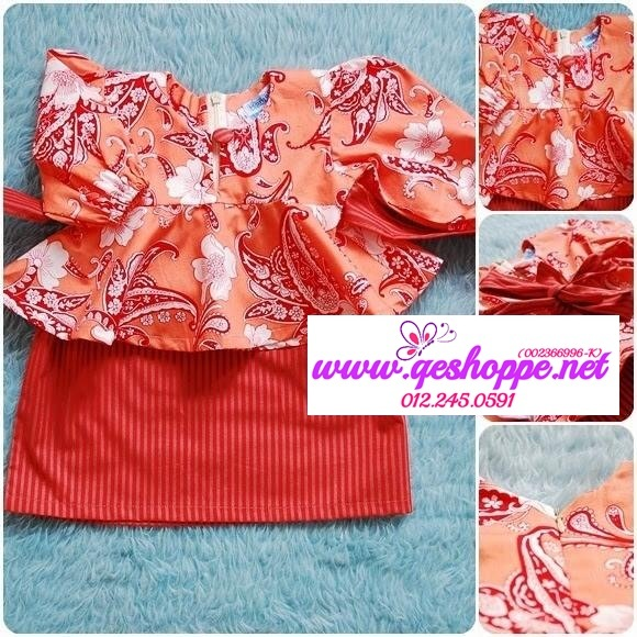 Baju Kurung Peplum Kanak-kanak Orange White Paisley with Grey Orange Stripe Skirt.jpg
