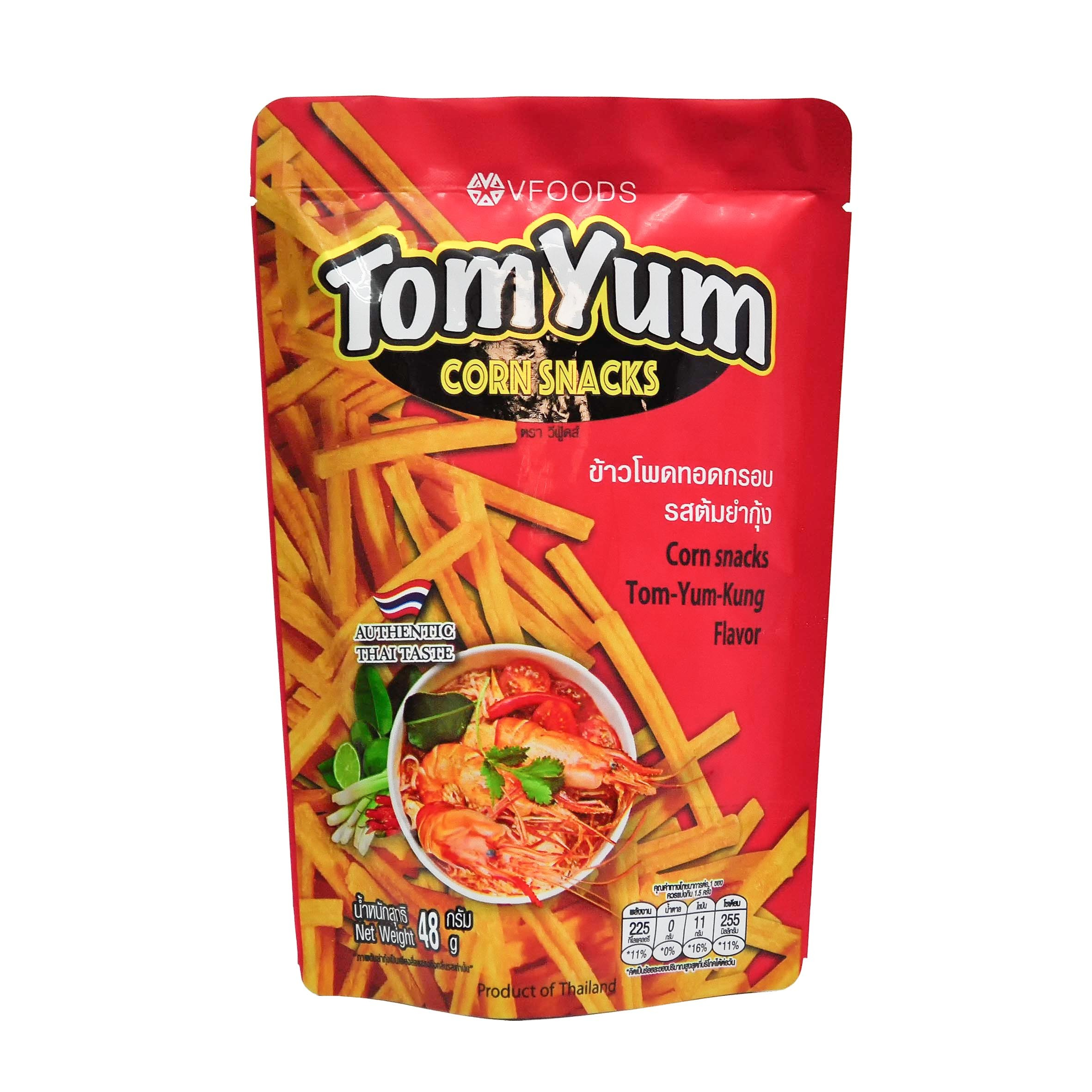 Tom Yum Kung Corn Snacks VFoods Front.jpg