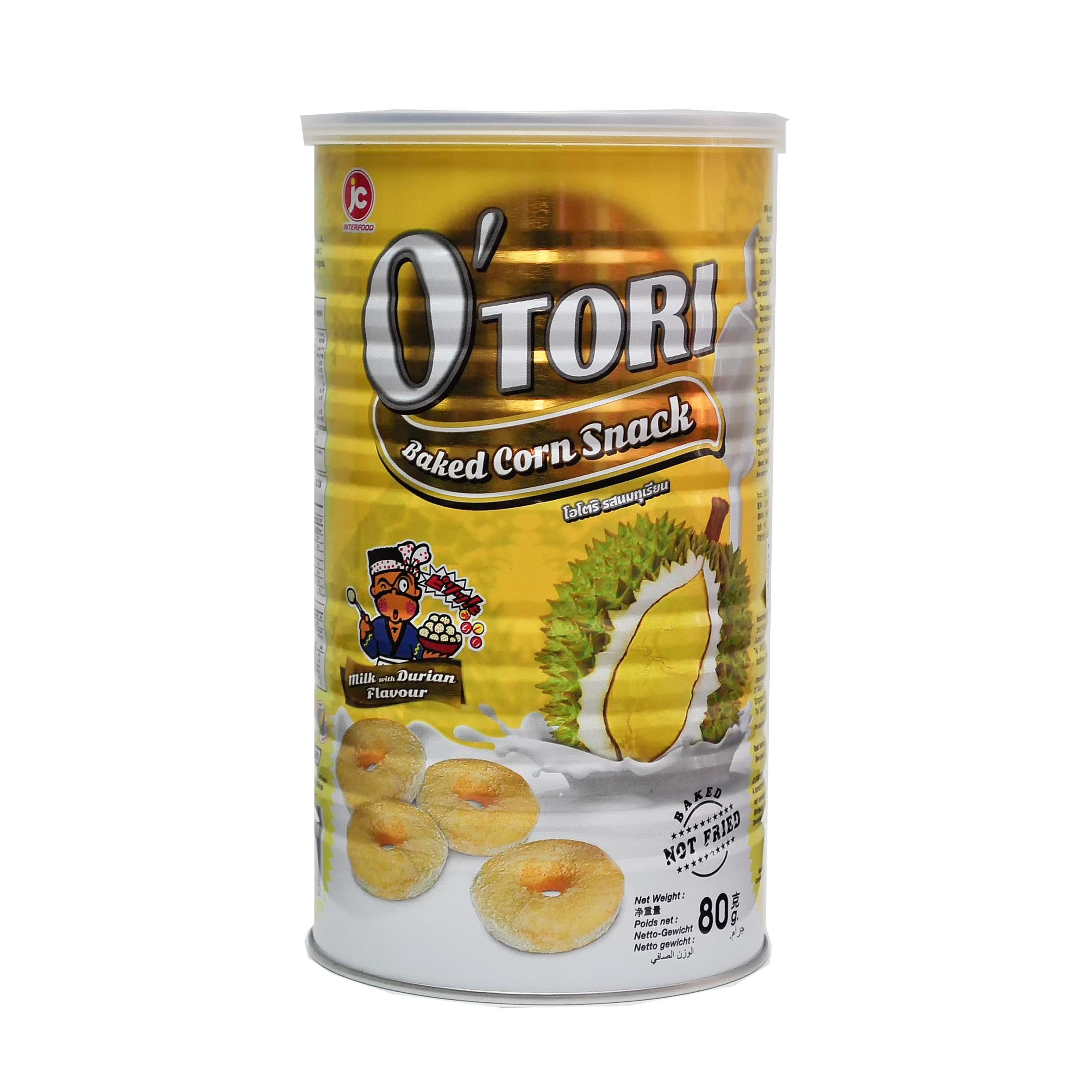 Otori Baked Corn Snack Milk With Durian Flavour Front.jpg