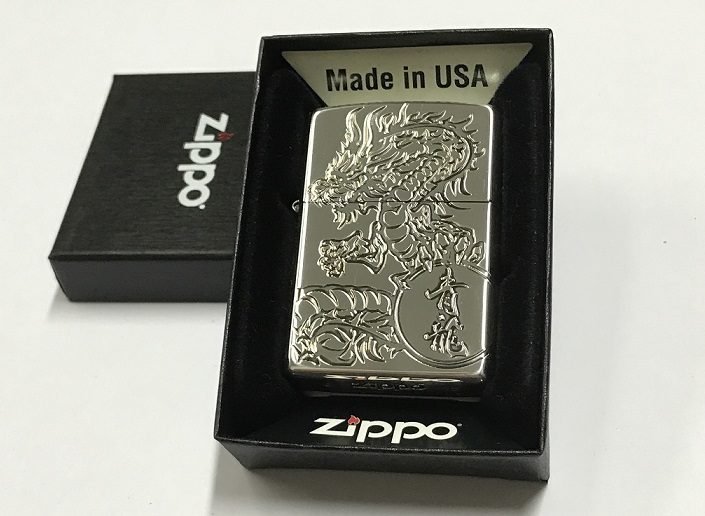 Zippo Lighter Oxidized Silver Plating with Etch Green Dragon (ZBT-3-26C).JPG