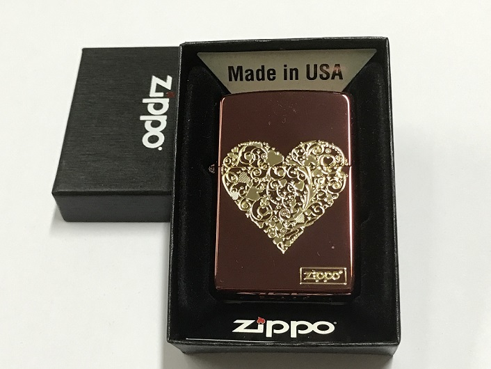 Zippo Lighter Good Plate with Etch Color Coating  with Gold Heart (Red) (ZBT-3-36A).JPG