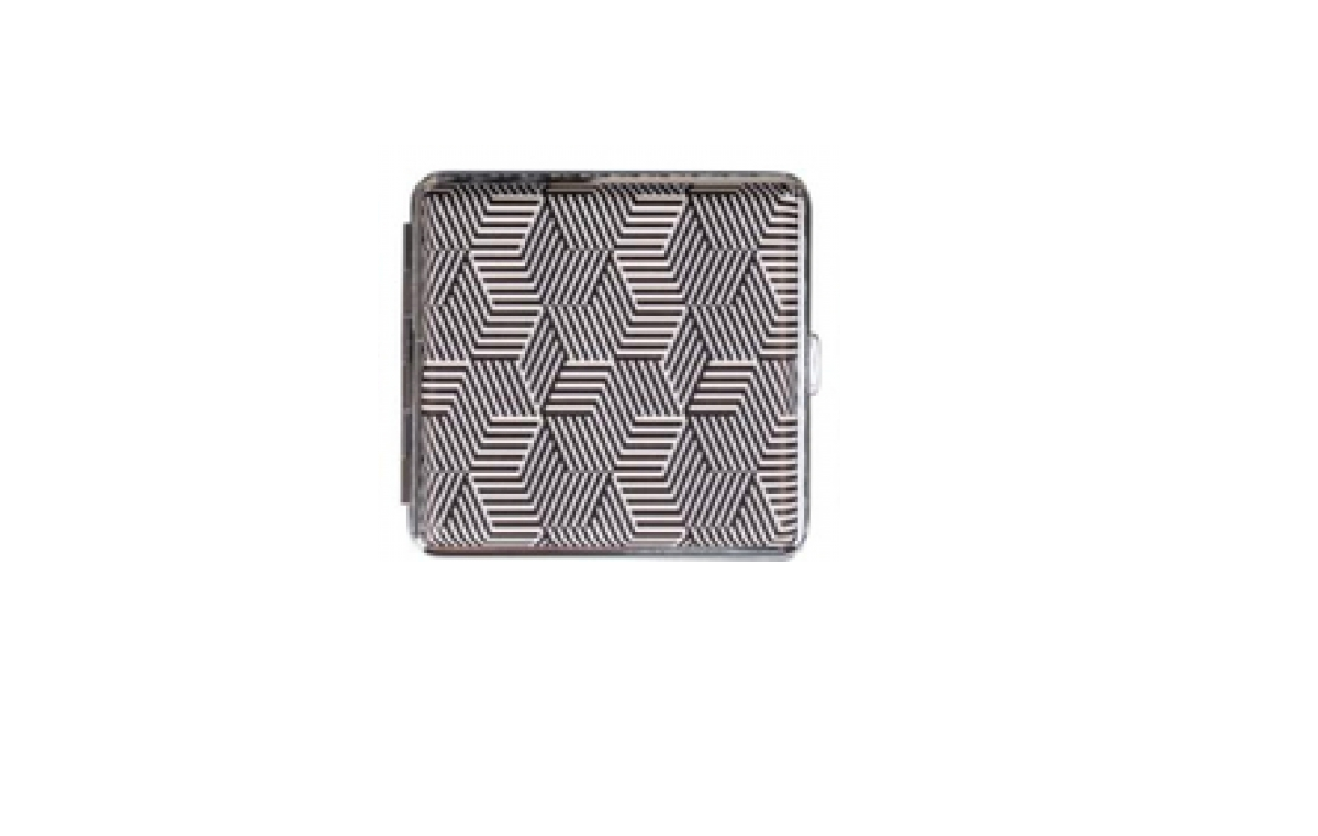 Cigarette case leatherette chrome frame black and white assorted (606634).png
