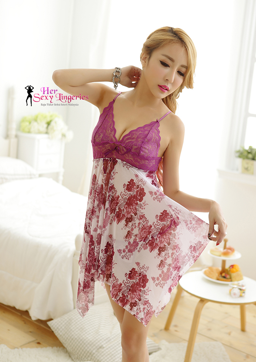 AB412  Flower Lace Sling Sexy Sleepwear Dress.jpg