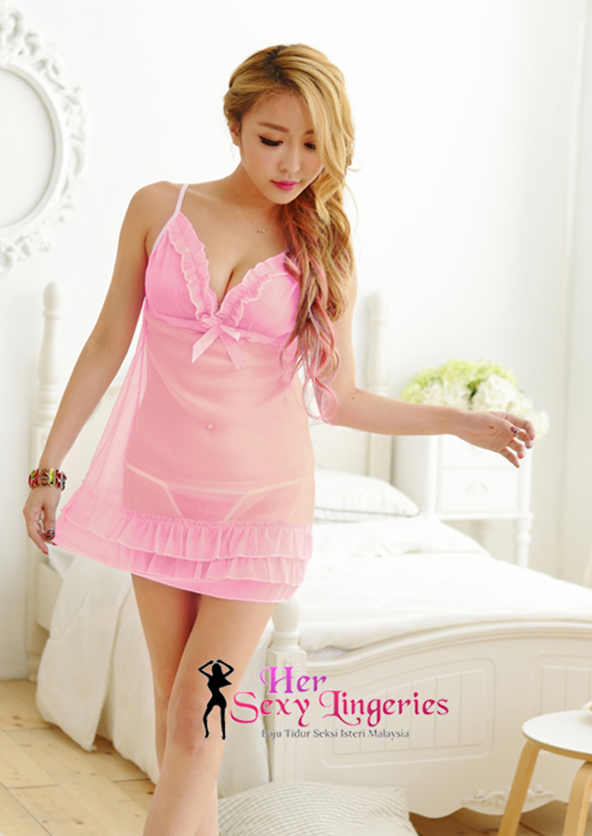 Transperent Lace Ribbon Cake Dress Babydoll Sleepwear (Pink) AB808PN 2 .jpg