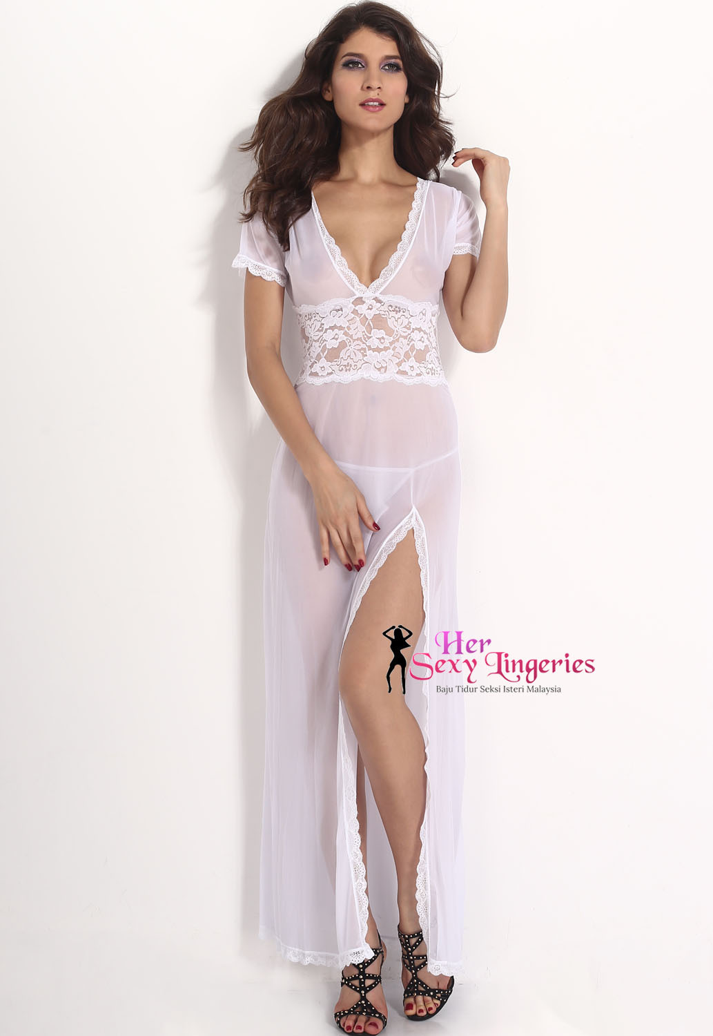 AB030WH Deep V Lace Long Dress Nightwear Lingeries Sexy. (White) 1c.jpg