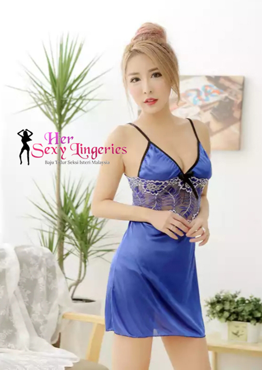 AB700BL Flora Ice Lace Nightwear Dress (Blue)1.jpg