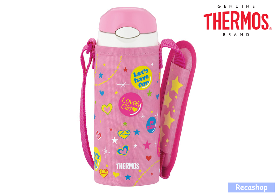 400ml Insulated Straw Bottle with Pouch pink.fw.png
