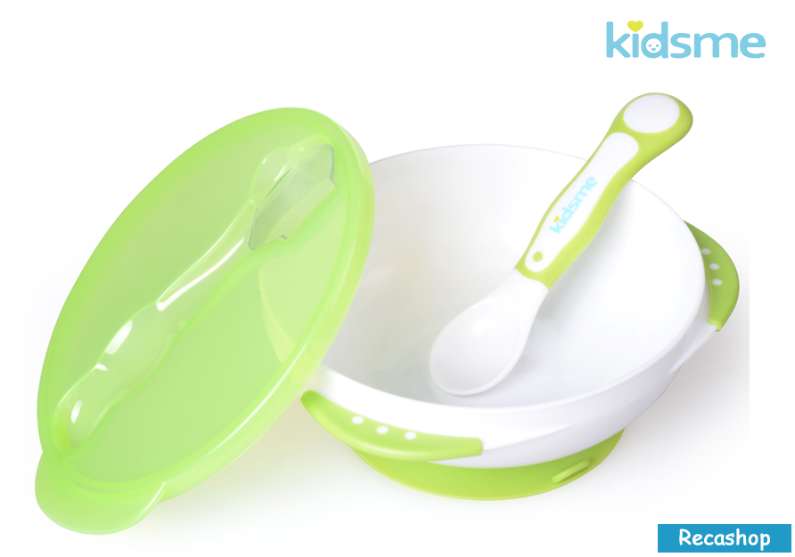 Kidsme Suction Bowl with Ideal Temperature Feeding Spoon Set(Green).fw.png
