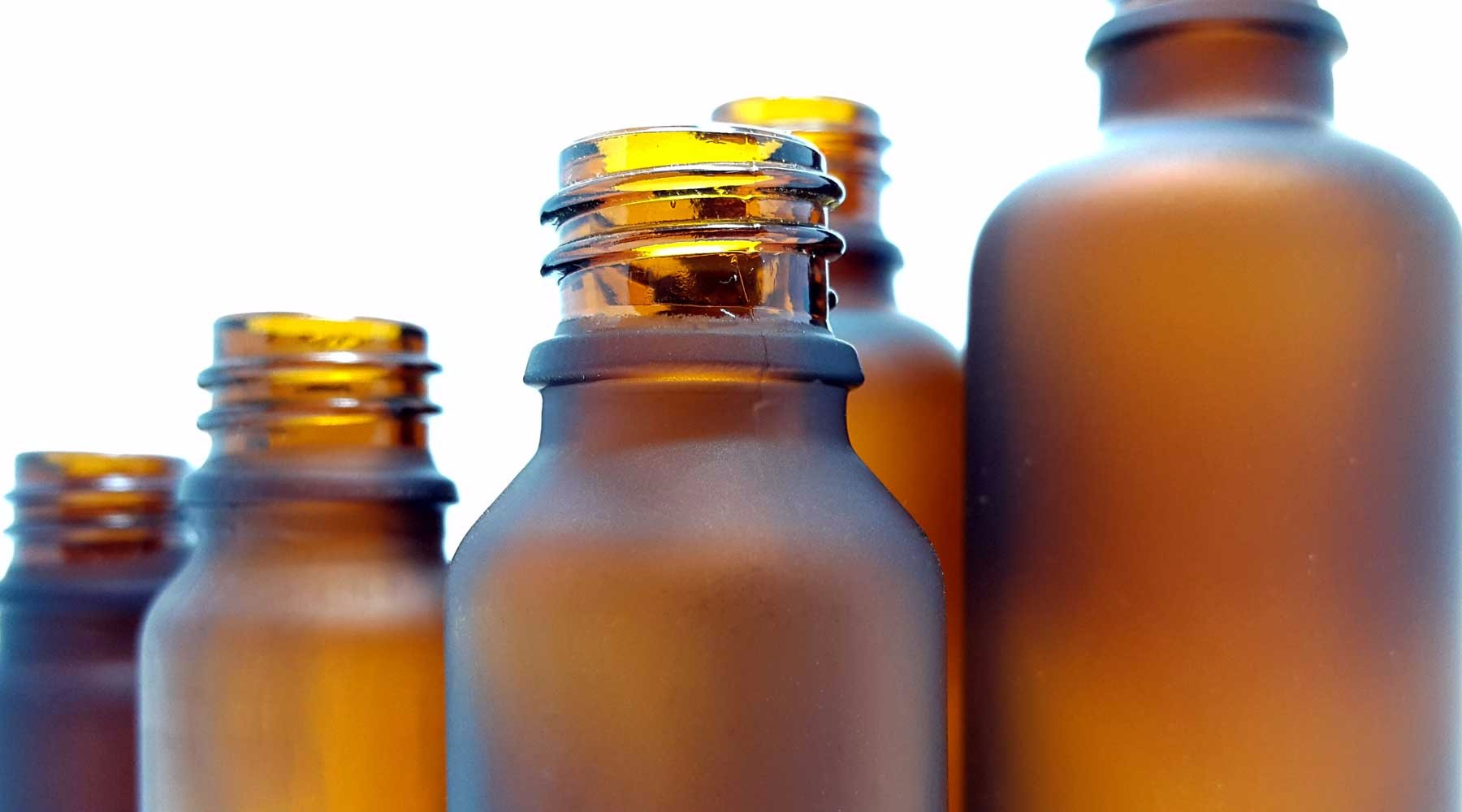 Frosted Amber Aromatic Glass Bottles