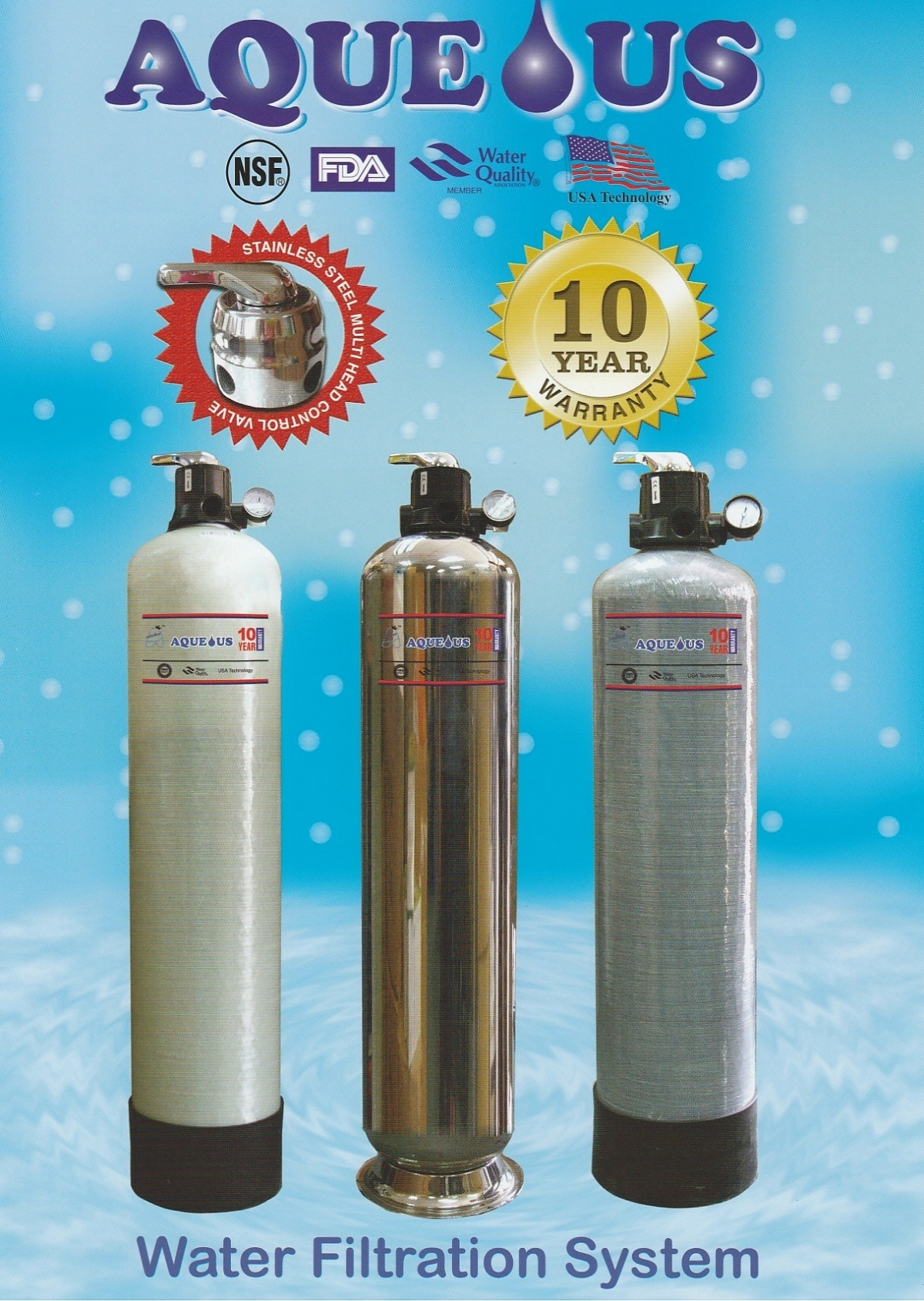 Aqueous 10 x 44 stainless steel outdoor water filtration for Garden water filter system