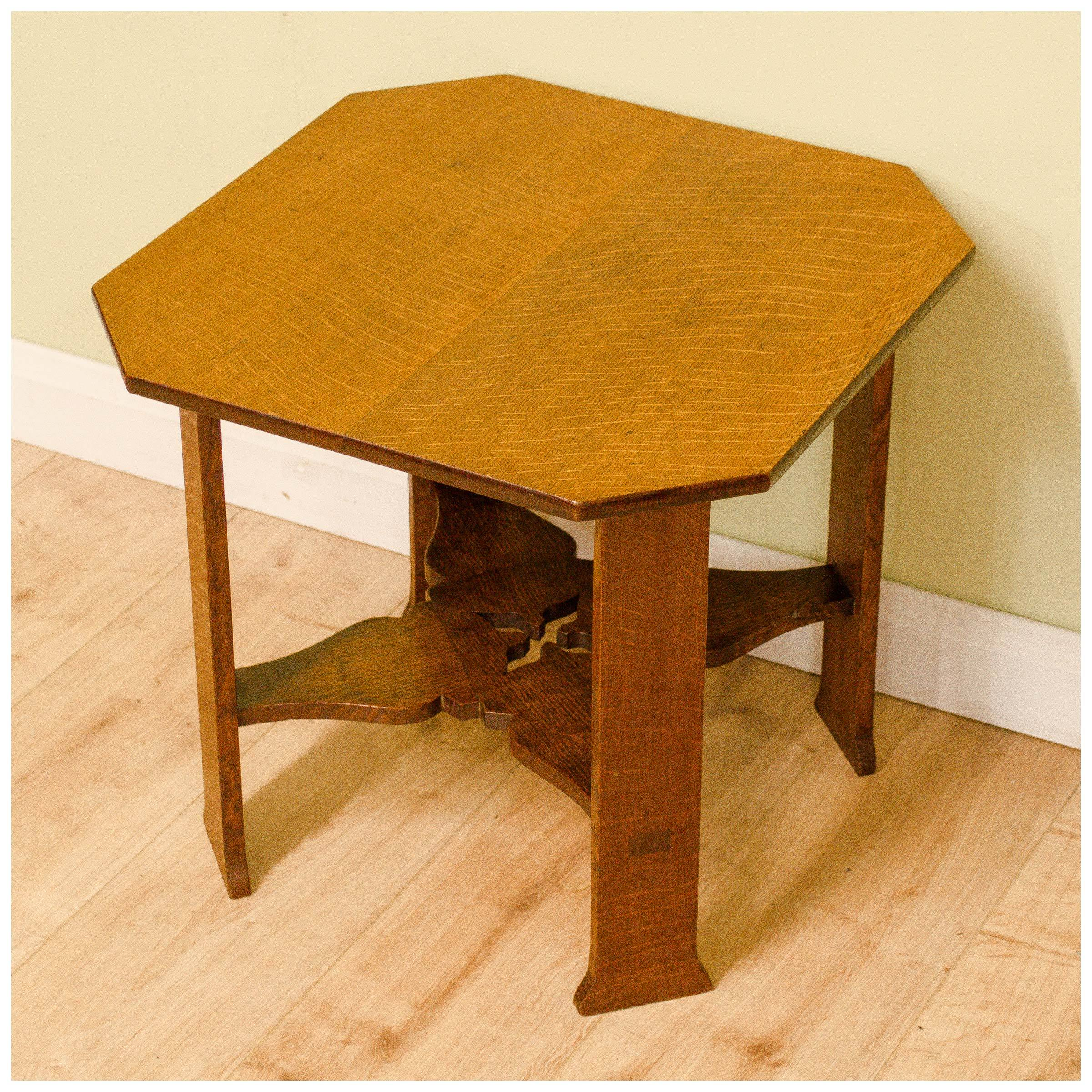 Arthur w simpson the handicrafts arts and crafts oak for Arts and crafts side table