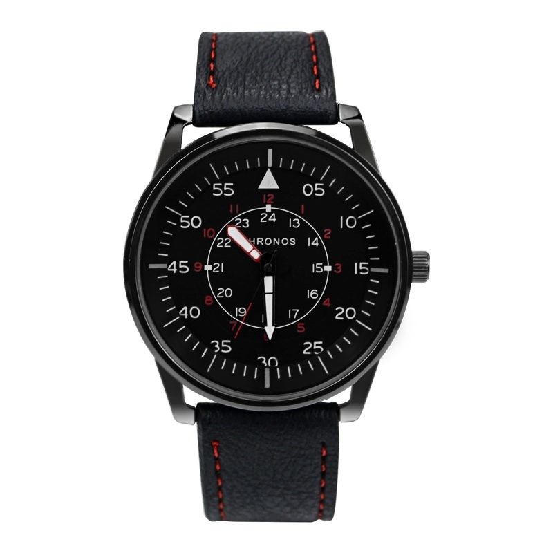 Pilot Chronos Leather Watches Red Black (1).jpg