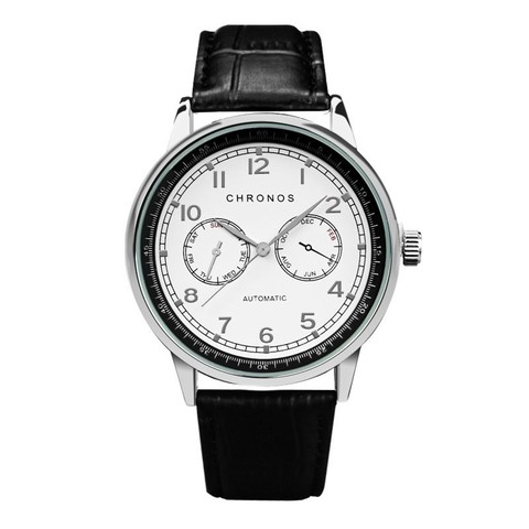 Dual Chronos Leather Watches Sliver Black 2.jpg
