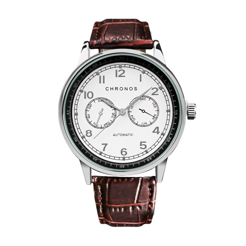 Dual Chronos Leather Watches Sliver Brown.jpg