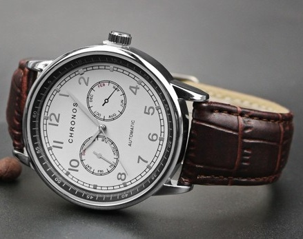 Dual Chronos Leather Watches Sliver Brown 2.jpg