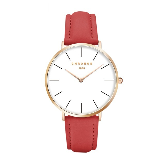 Minimal Chronos Red PU Leather Watches Gold.jpg