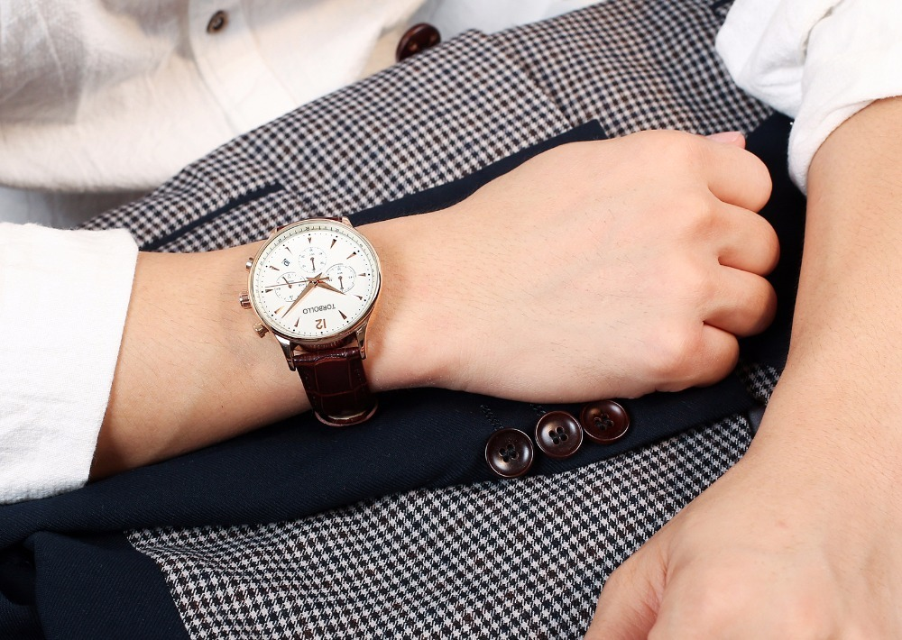 Gent Chronograph Leather Watches Brown White 4.jpg