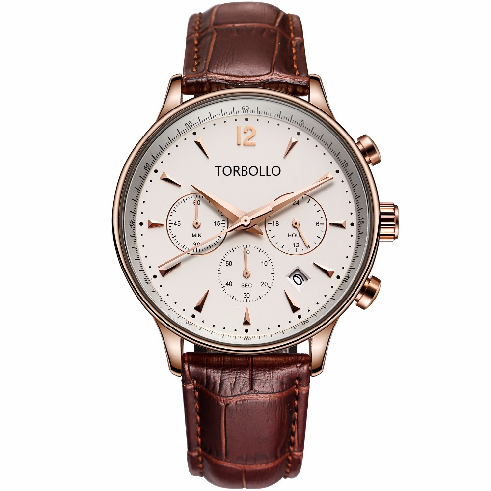 Gent Chronograph Leather Watches Brown White 3.jpg