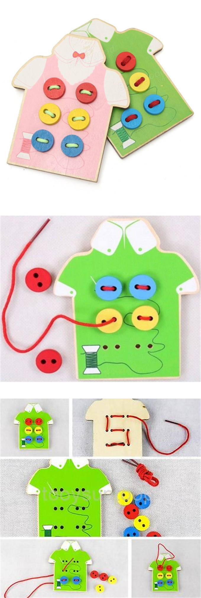 Little B House Wooden String Clasp Threading Button Up Board Game Montessori Early Education