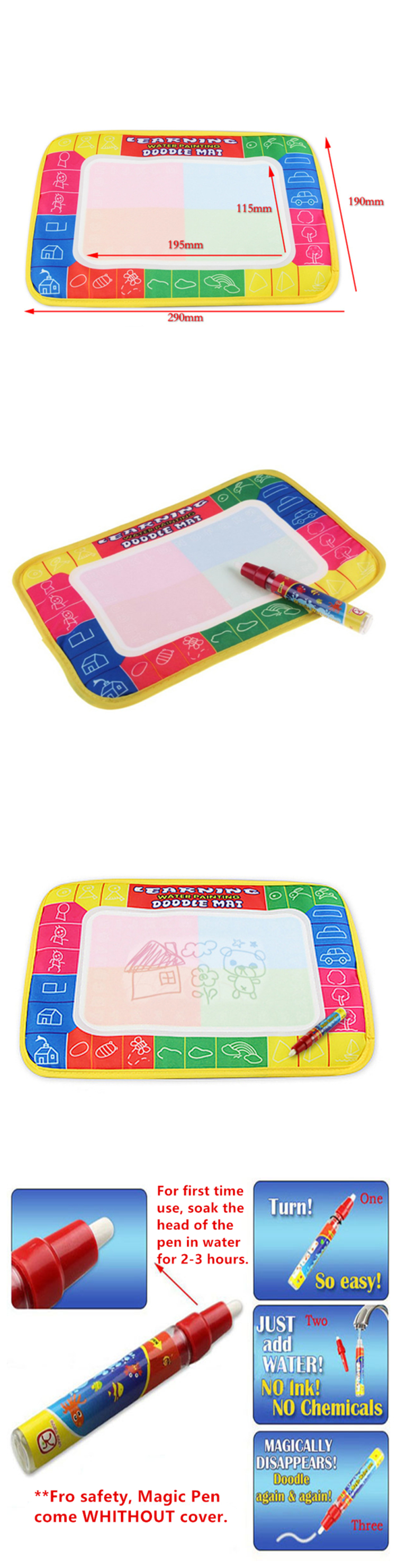 Little B House Water Drawing Painting Writing Magic Pen Doodle Mat Toy Early Learning 29X19cm -BT36-S