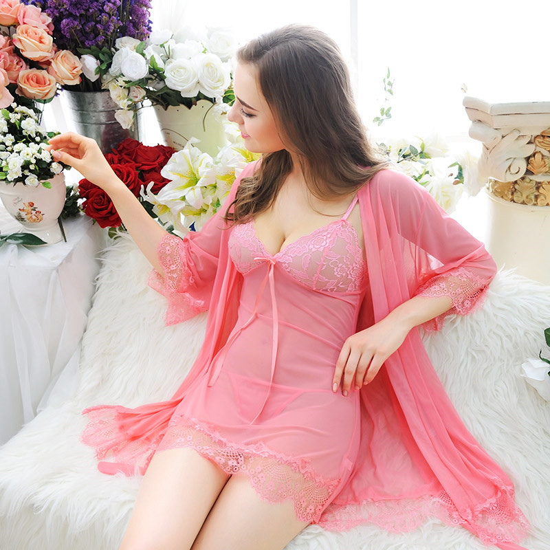 49166dfc87 Two Pieces In One Set Robes Babydoll Sleepwear Lingerie MS252