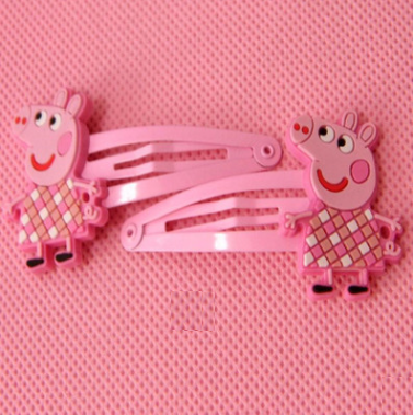 Peppa Pig Hairclip (Pink White Grid).png