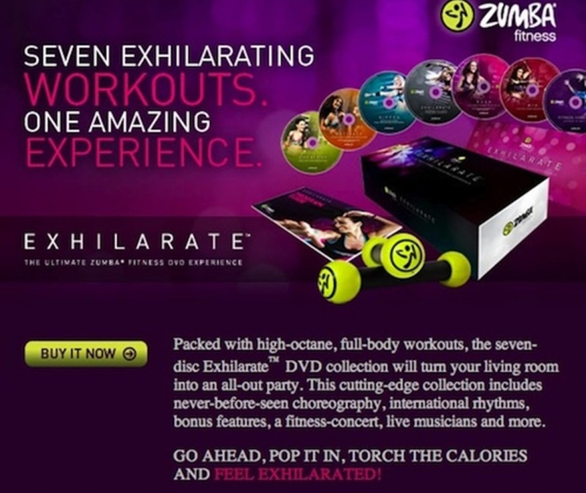 zumba exhilarate fitness 7dvd workout program with tonning sticks set. Black Bedroom Furniture Sets. Home Design Ideas
