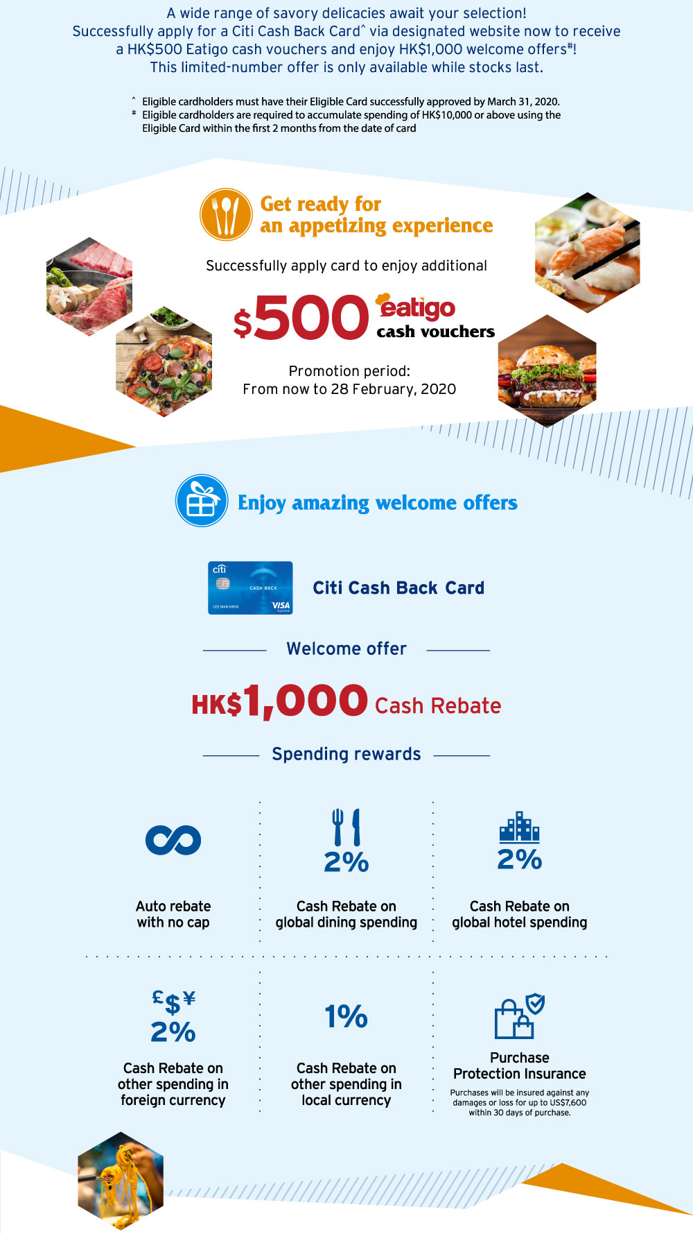 Enjoy additional HK$500 eatigo cash vouchers upon successful application of Citi credit cards! 5