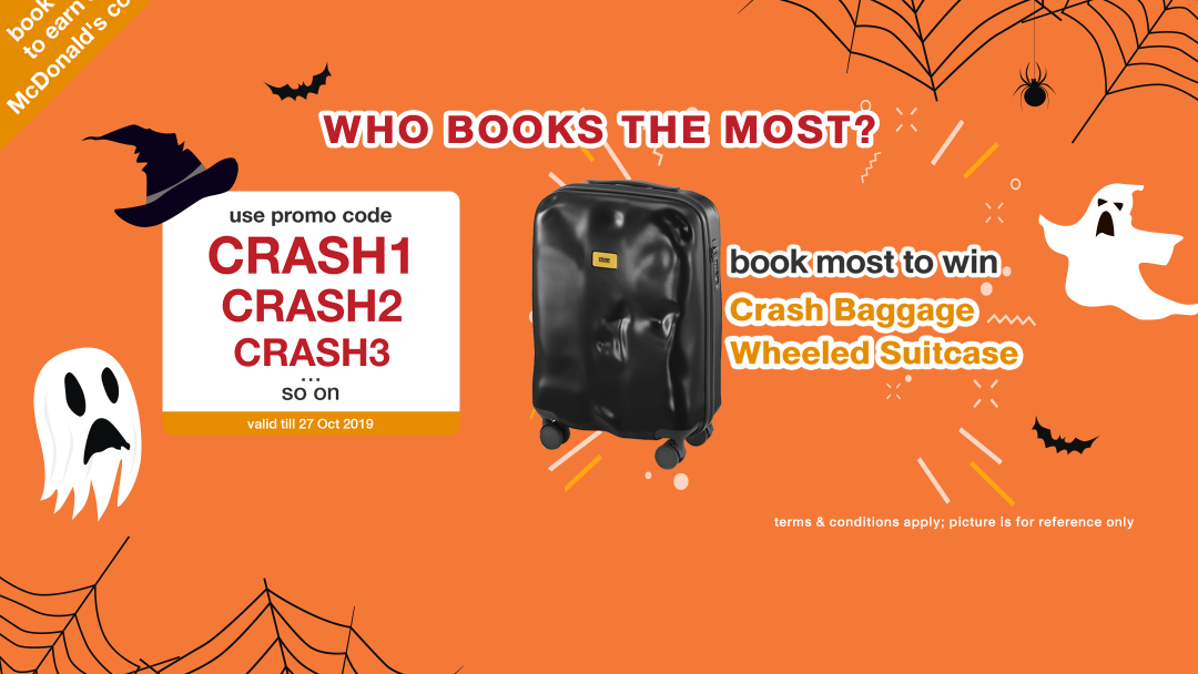 【Crash Baggage】WHO BOOKS THE MOST? Book to win a wheeled suitcase of Crash Baggage! 10