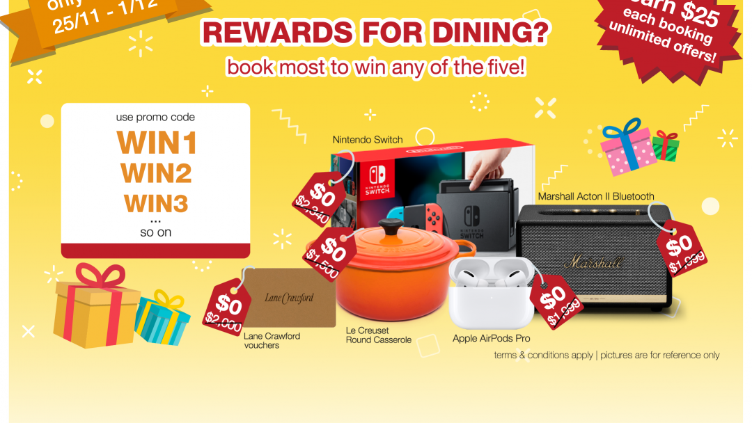 Rewards for dining? Book most to win a prize from us! 9