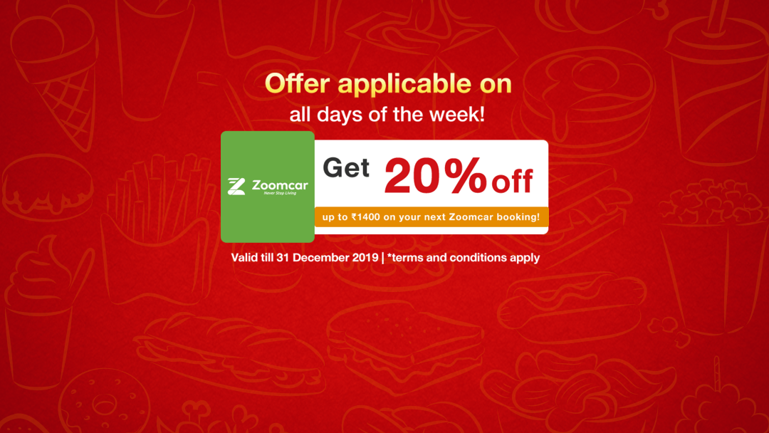Get 20% off up to ₹1400 zoomcar discount! 10