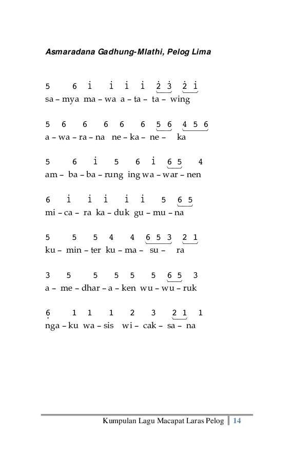 Jual Buku Kumpulan Lagu Macapat Laras Pelog Oleh Sugito Hs