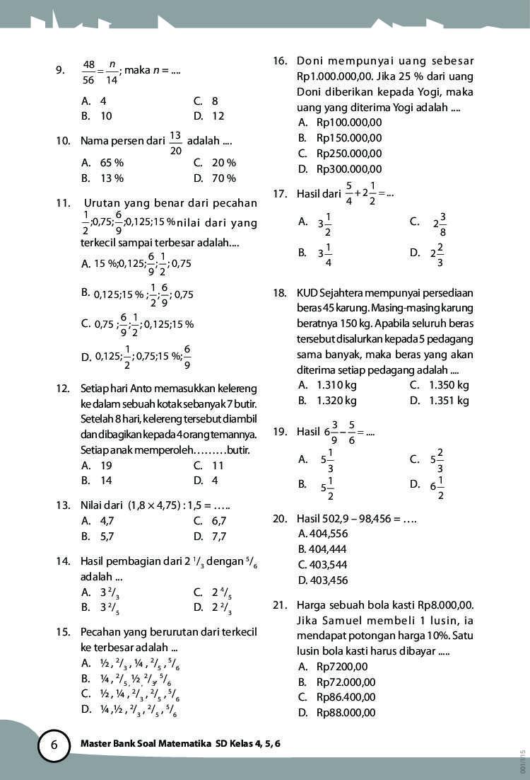 soal matematika sd kelas 4 jual buku master bank soal matematika sd kelas 4 5 6 oleh