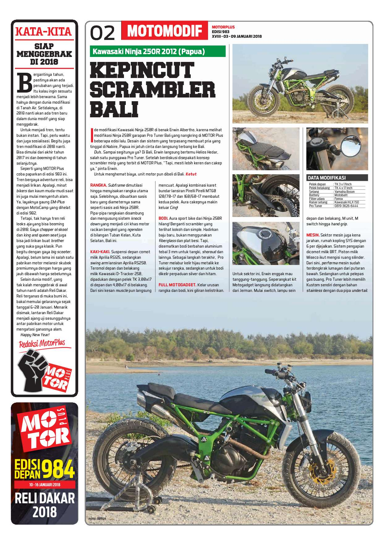 Motor Plus Magazine Ed 983 January 2018 Gramedia Digital Filter Udara Ferrox Kawasaki Ninja 150r 3