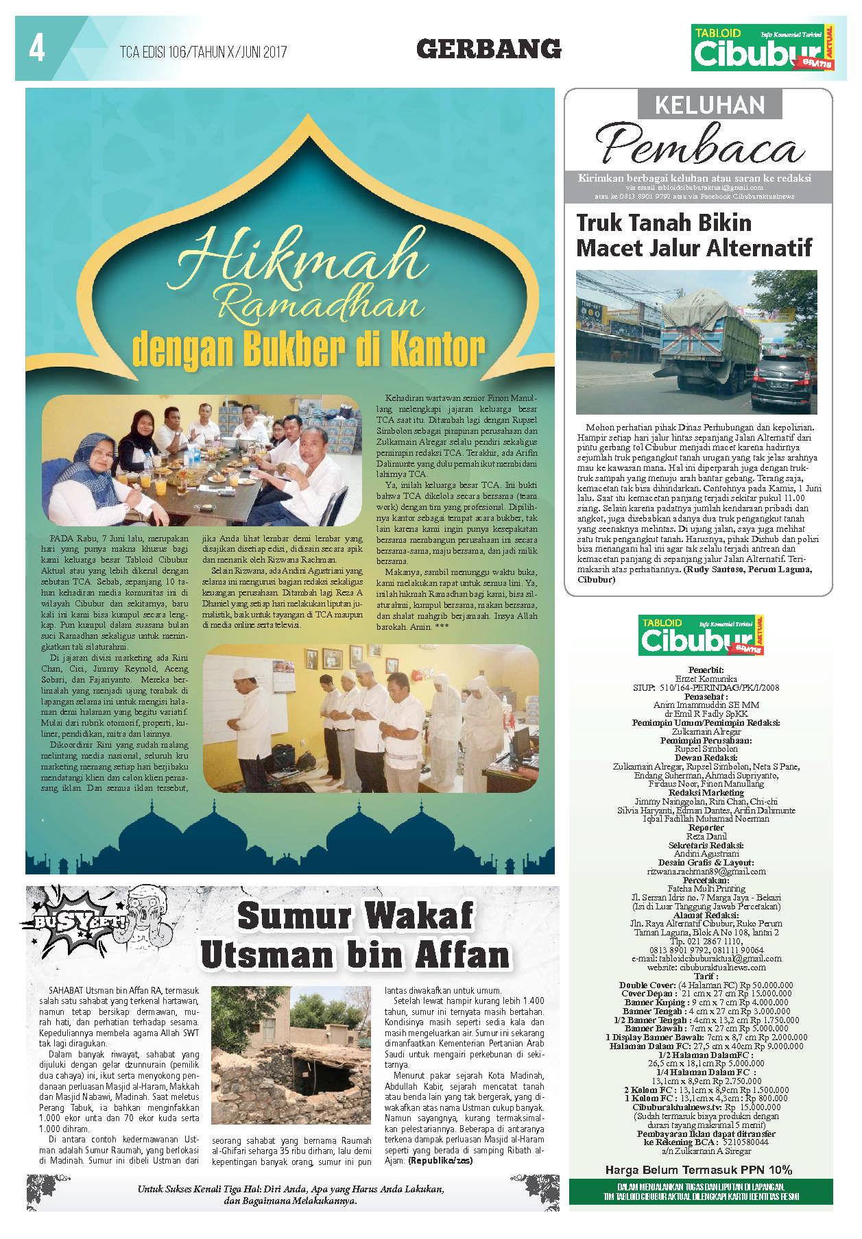 Jual Majalah Cibubur Aktual Ed 106 Juni 2017 Gramedia Digital Sumur Utsman 3