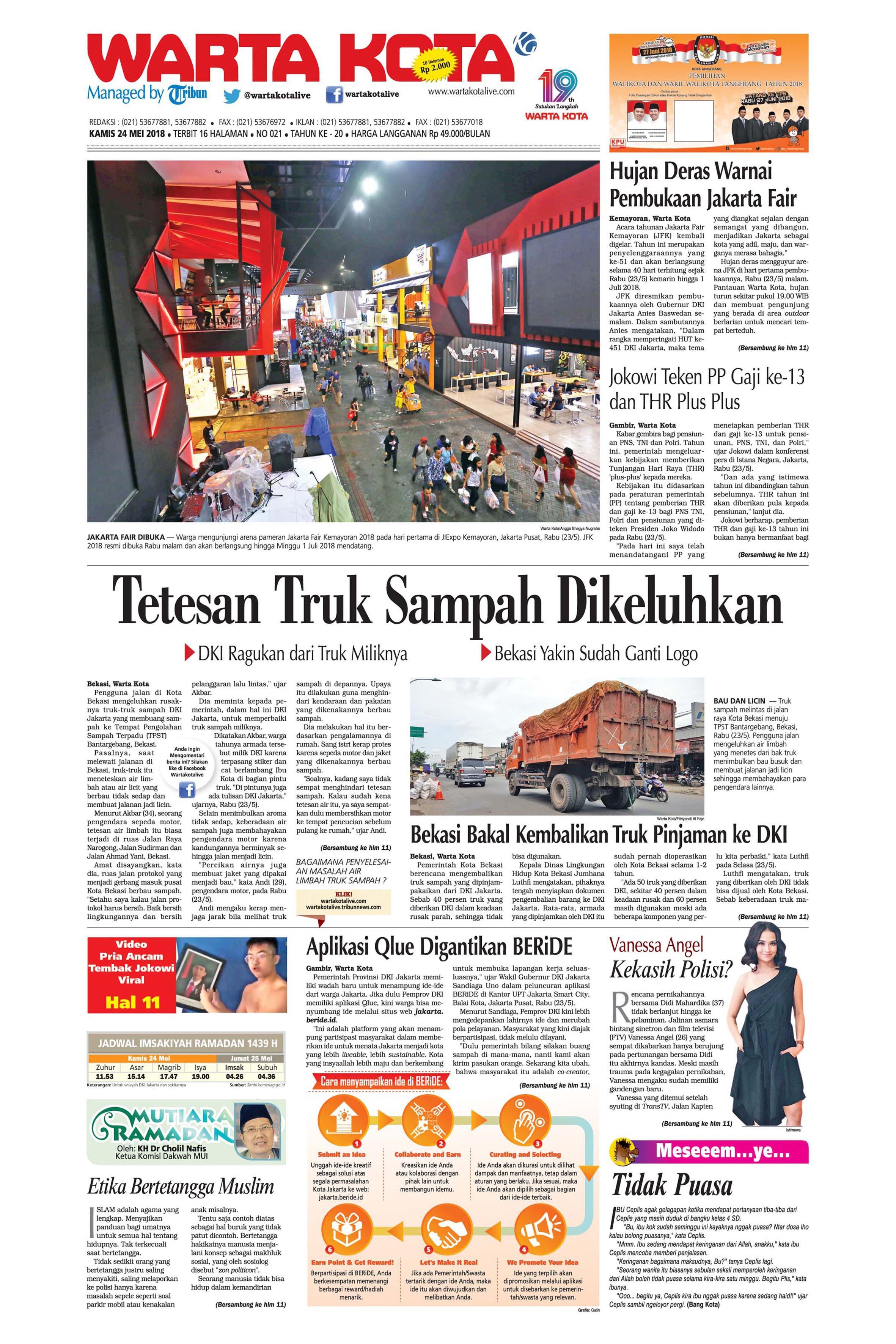 Warta Kota Newspaper 24 May 2018 Gramedia Digital