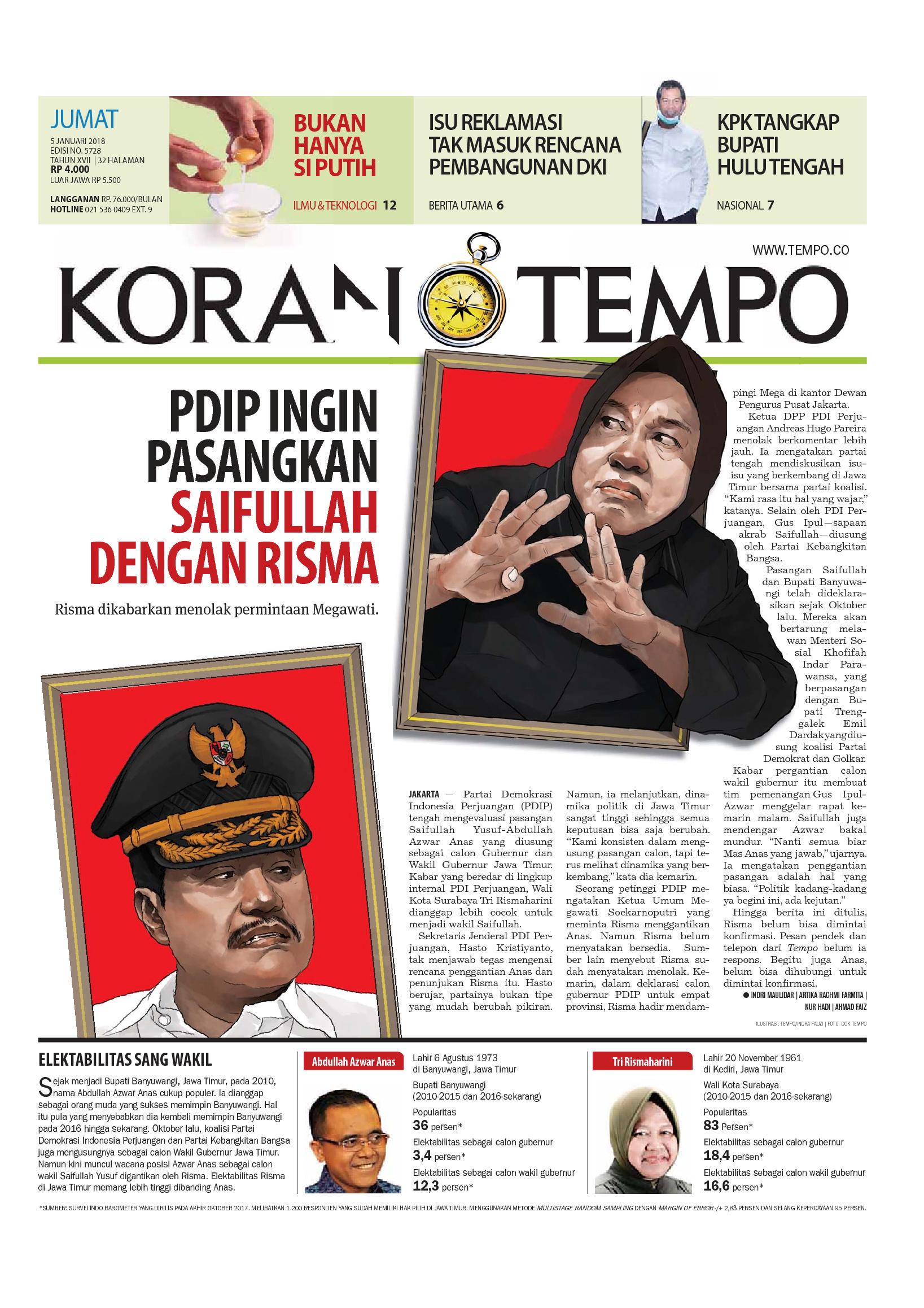 Koran TEMPO Newspaper 05 January 2018 - Gramedia Digital