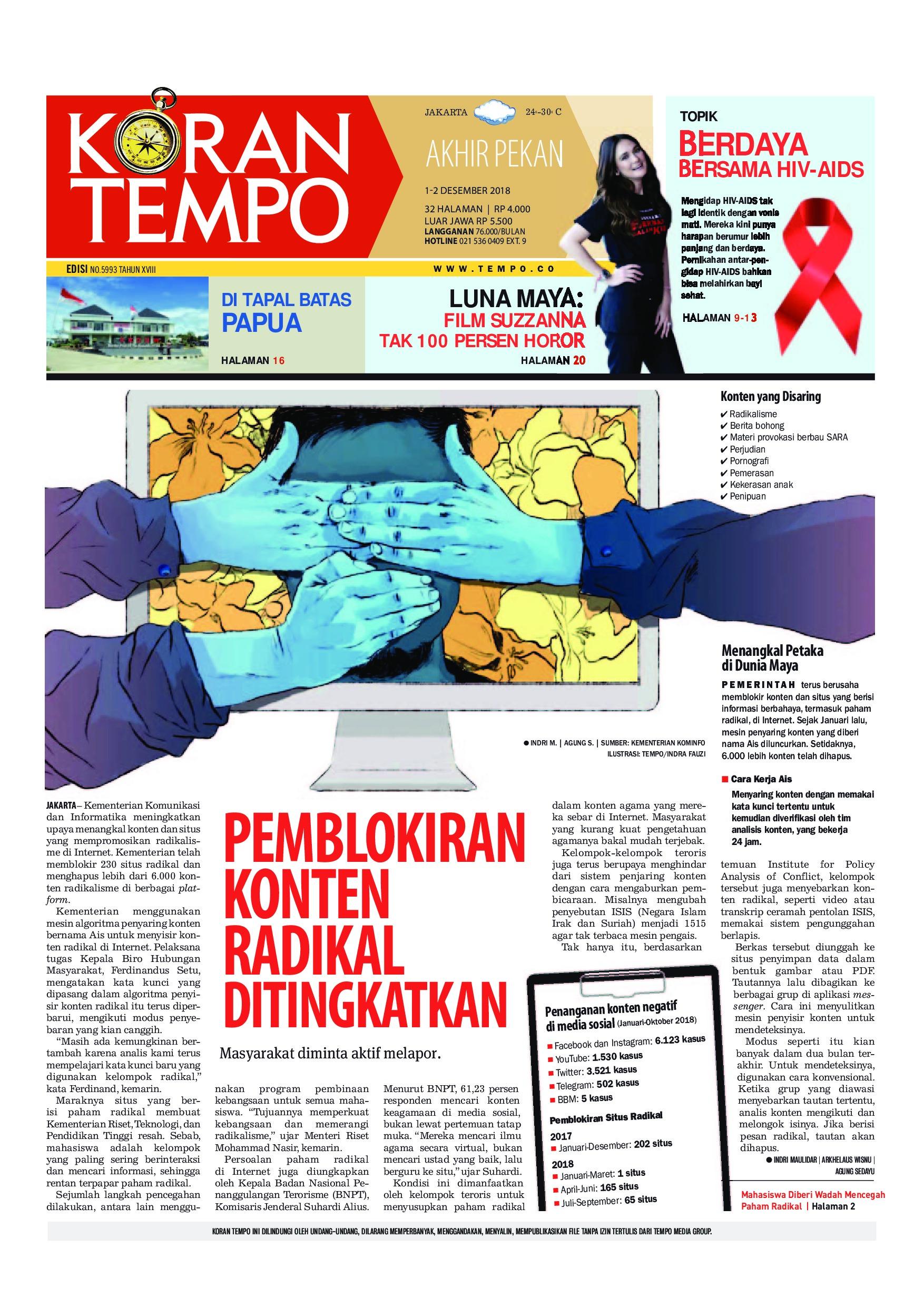 Koran Tempo Newspaper 01 December 2018 Gramedia Digital