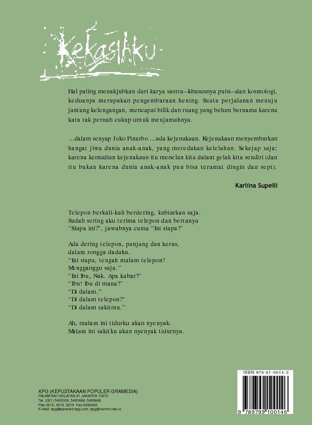 Jual Buku Kekasihku Kumpulan Puisi Joko Pinurbo Oleh Joko Pinurbo