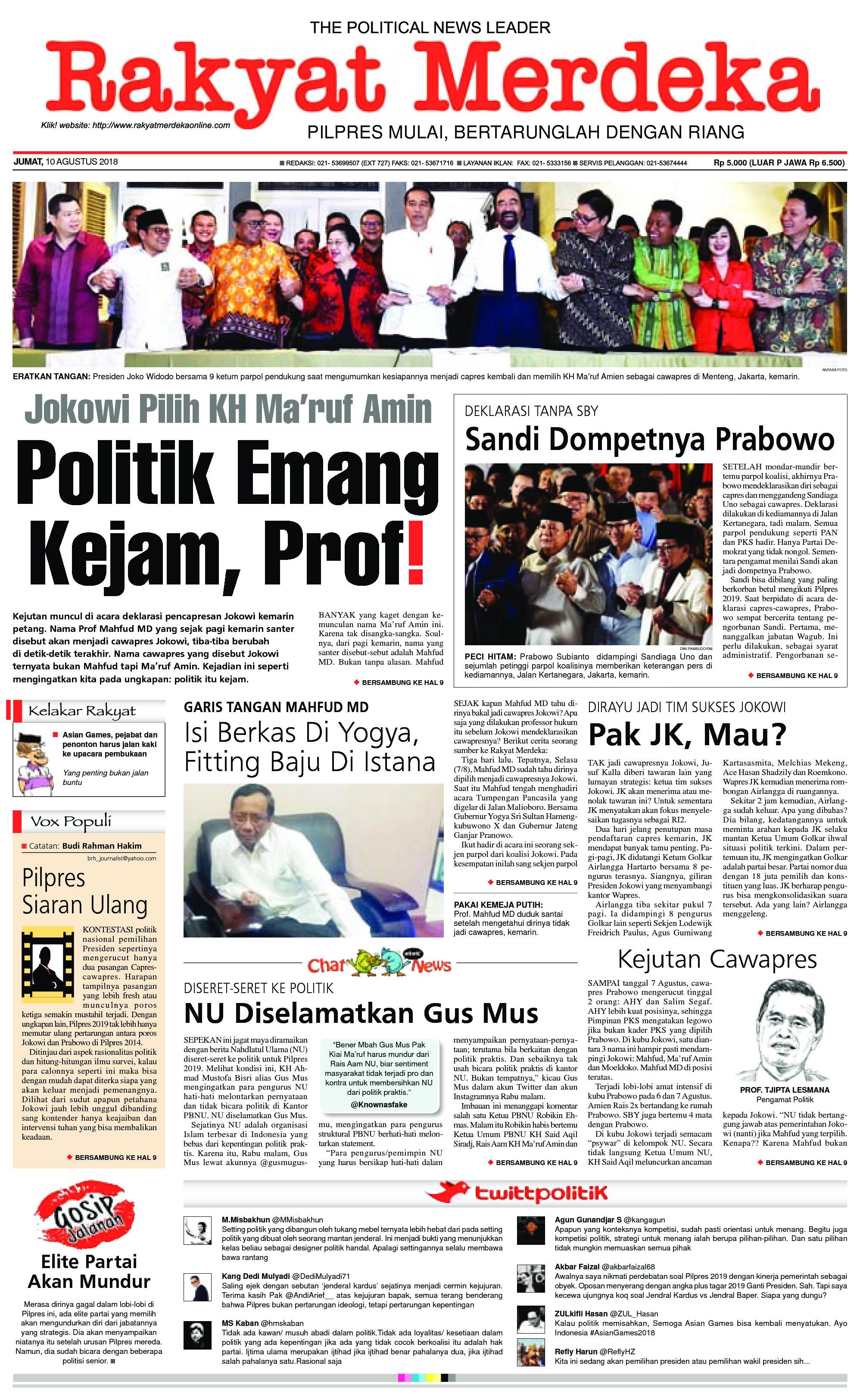 Rakyat Merdeka Newspaper 10 August 2018 Gramedia Digital Jendral Kardus