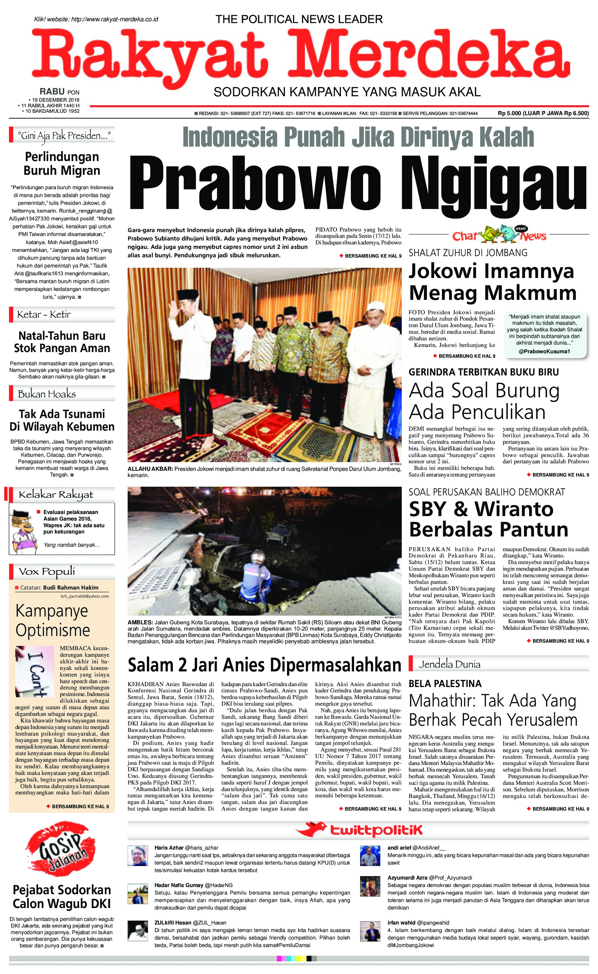 Rakyat Merdeka Newspaper 19 December 2018 Gramedia Digital