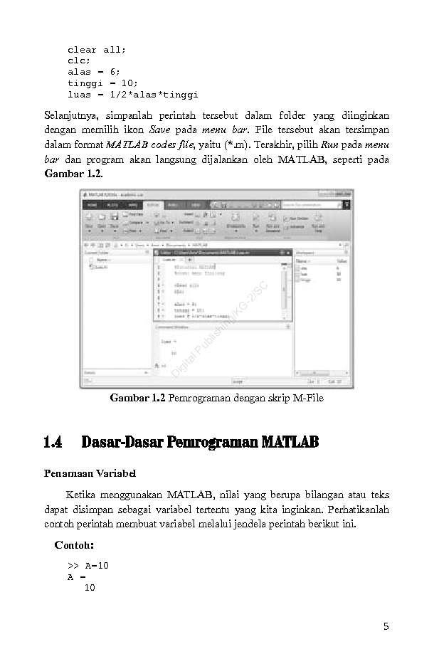 Pengantar Pemrograman MATLAB Book by Amir Tjolleng, M Sc