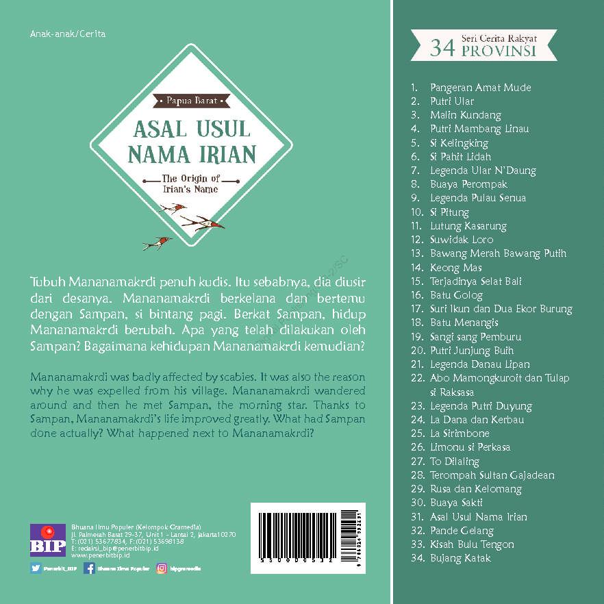 Seri Cerita Rakyat 34 Provinsi Asal Usul Nama Irian Book By Dian K