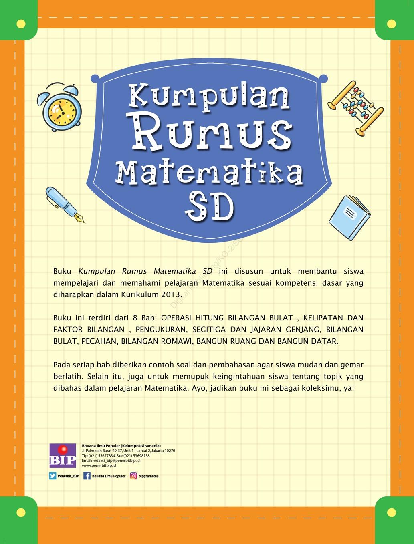Jual Buku Kumpulan Rumus Matematika Sd Oleh Maria Elisabeth E K S Si Gramedia Digital Indonesia