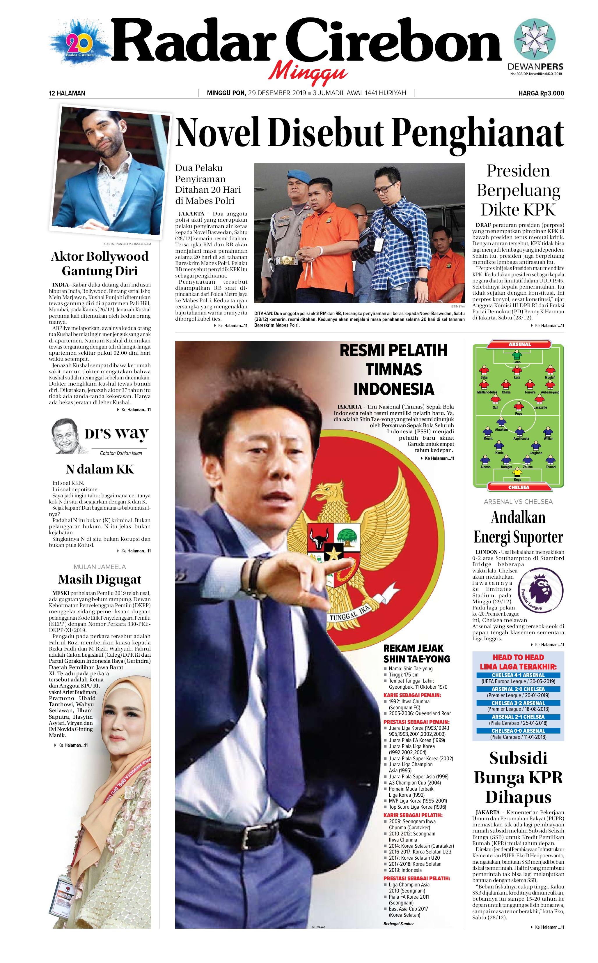 Radar Cirebon Newspaper 29 December 2019 Gramedia Digital