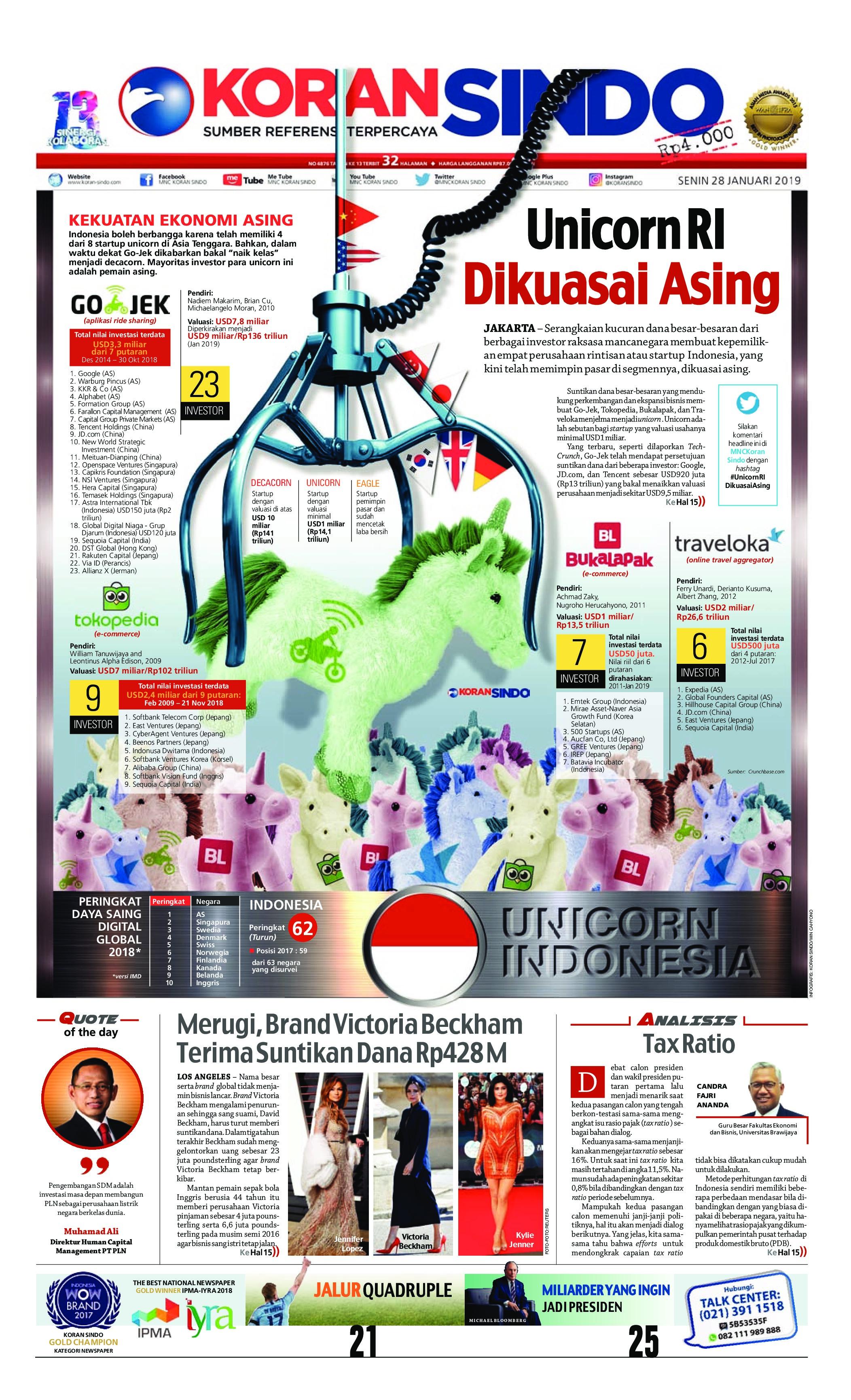 Koran Sindo Newspaper 28 January 2019 - Gramedia Digital