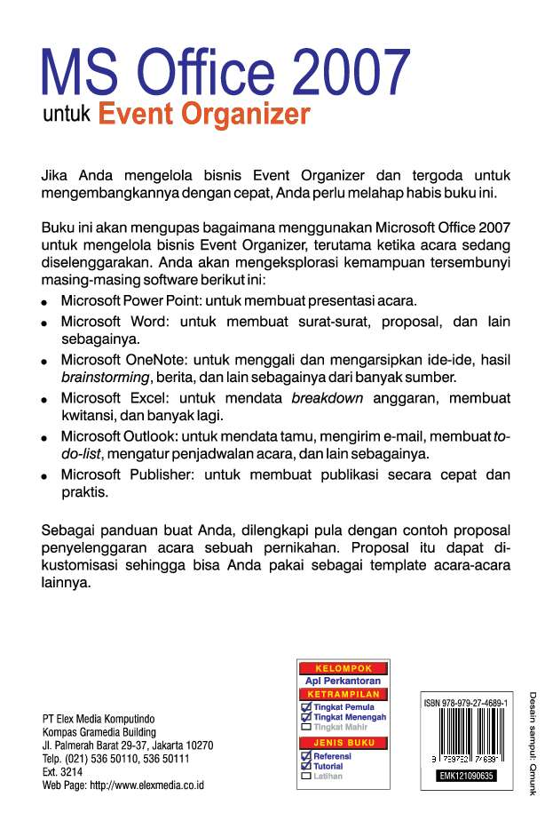 Ms Office 2007 Untuk Event Organizer Book By Jubilee