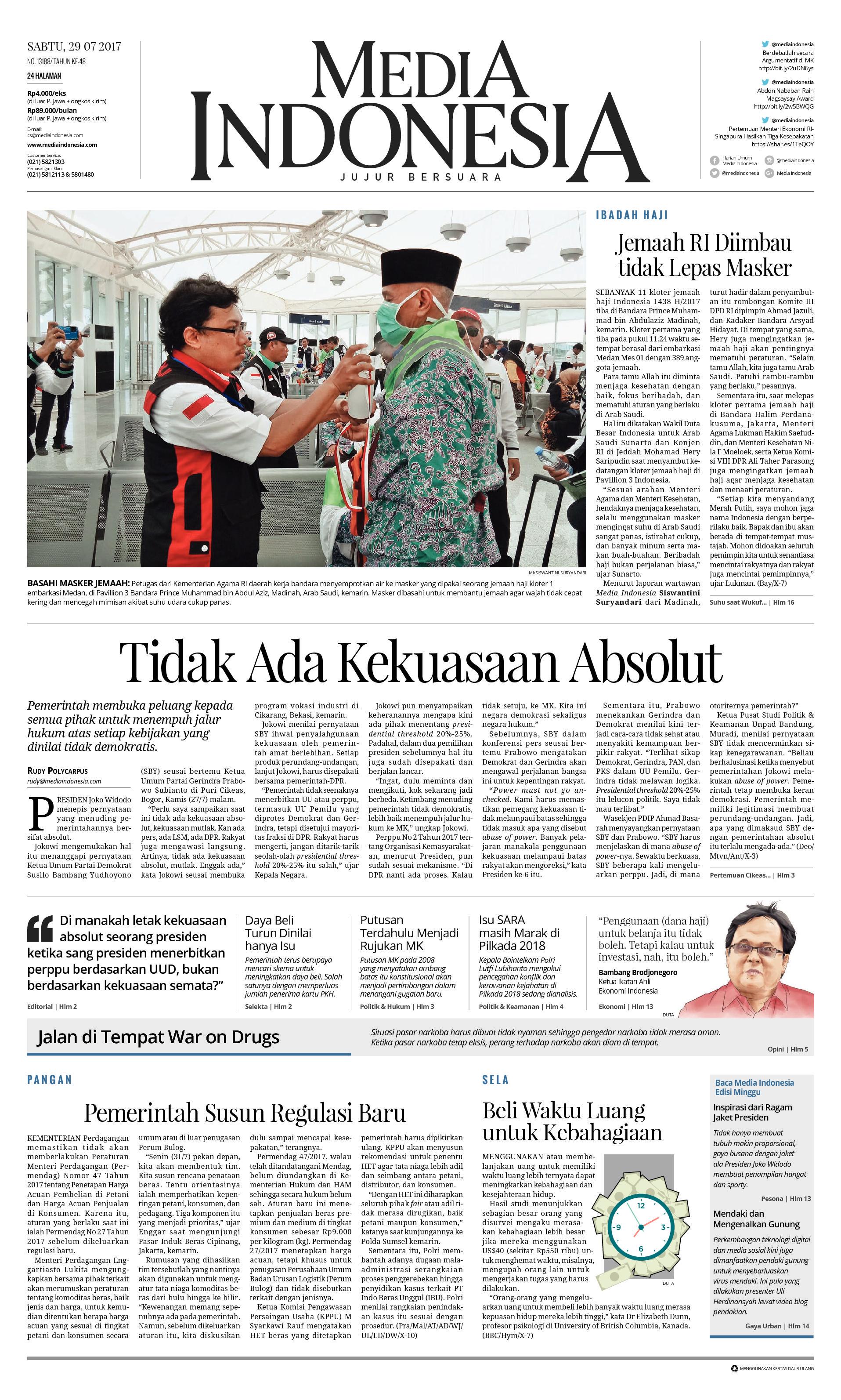 Media Indonesia Newspaper 29 July 2017 Gramedia Digital
