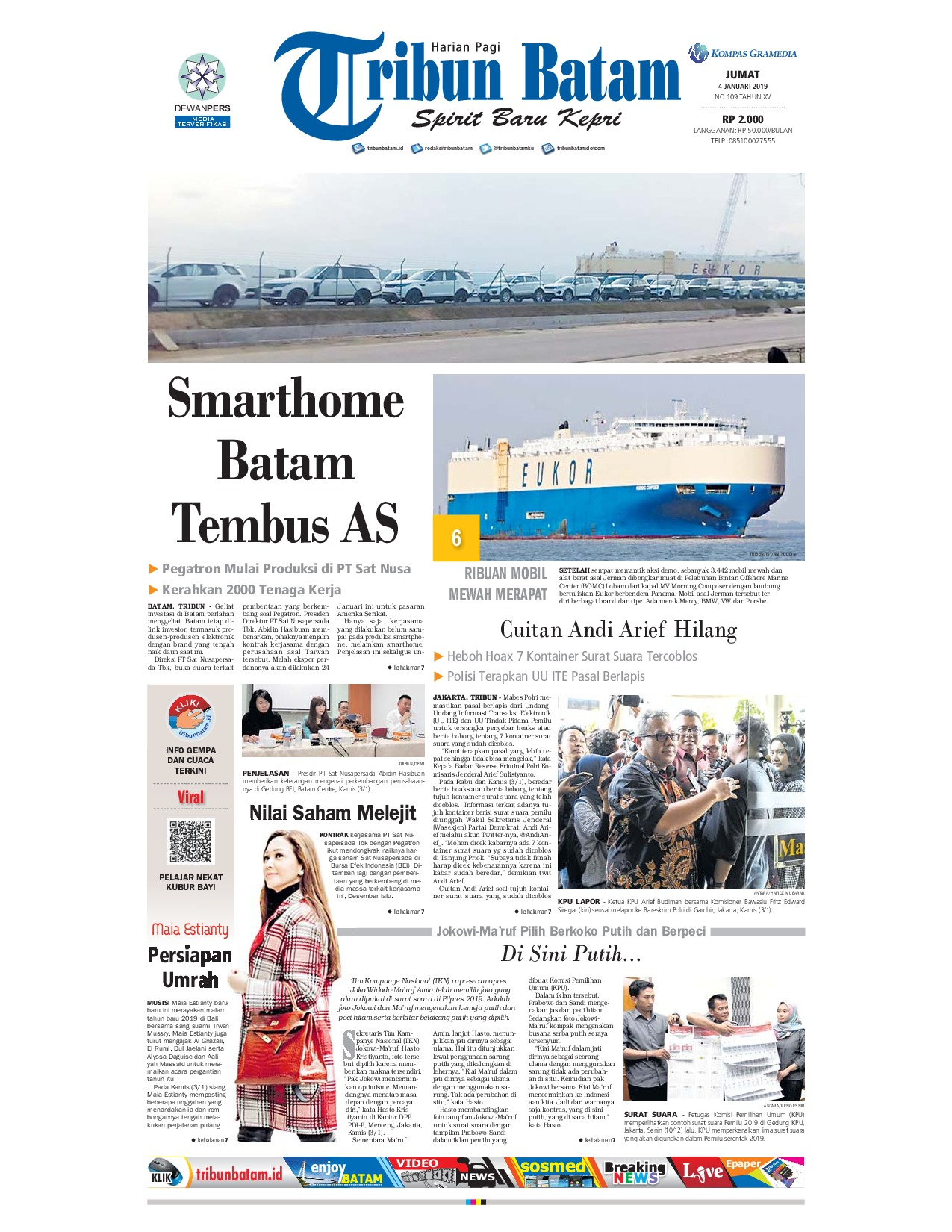Tribun Batam Newspaper 04 January 2019 Gramedia Digital